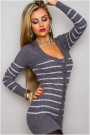 Pilkas ilgas megztinis su sagutėm