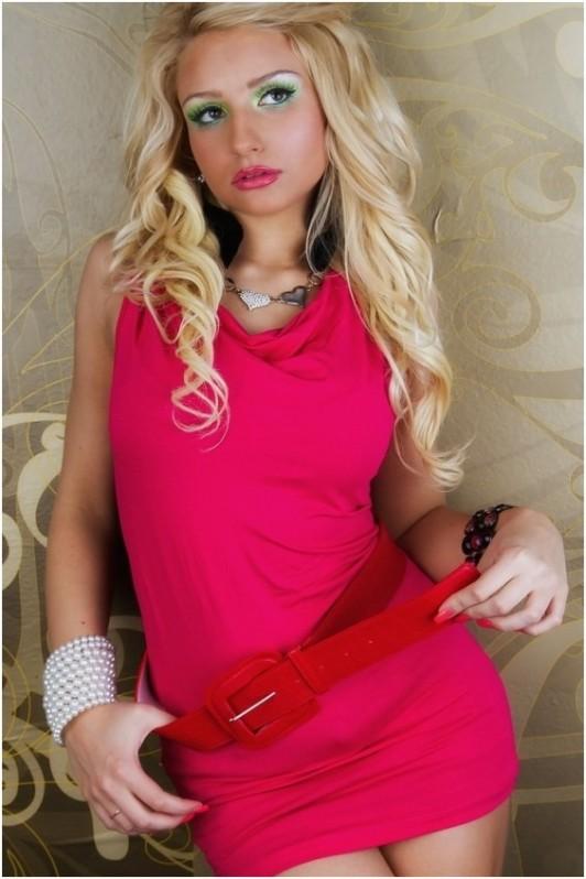 Rožinės spalvos palaidinė be rankovių