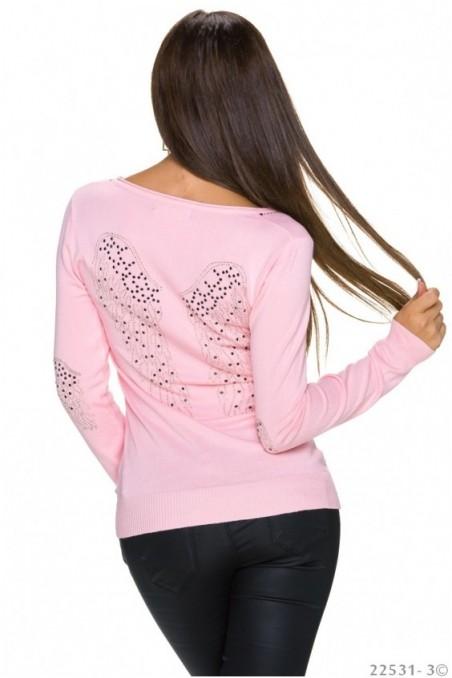 Rožinė palaidinė su sparnais nugaroje