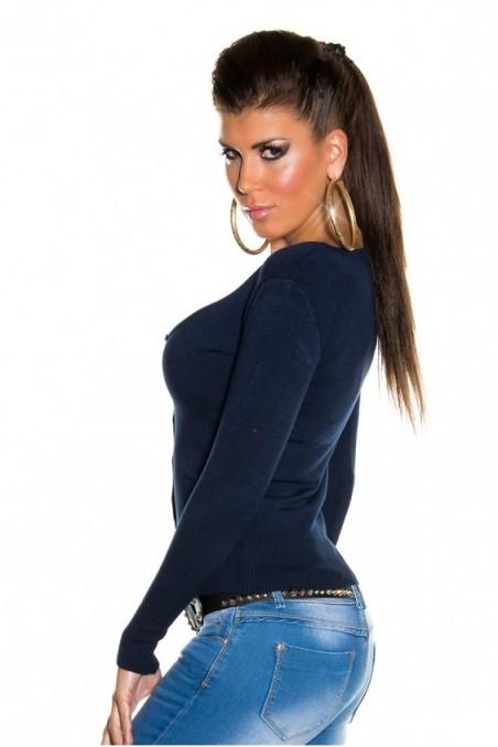 Tamsiai mėlynas trumpas megztinis su sagutėm