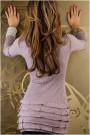 Šviesiai violetinė mini suknelė su paaukštintu kaklu