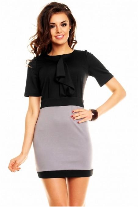Elegantiška juoda su pilka suknelė