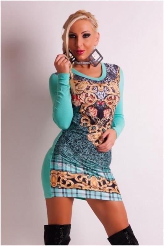 Turkio spalvos marga suknelė