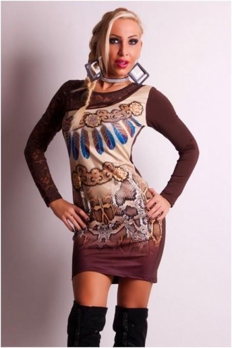 Ruda marga suknelė su nėriniais