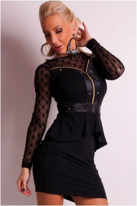 Juoda elegantiška suknelė su gipiūru