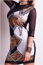 Juoda/balta suknelė su leopardais