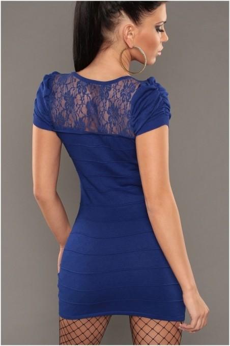 Mėlyna trumpom rankovėm suknelė su gipiūru