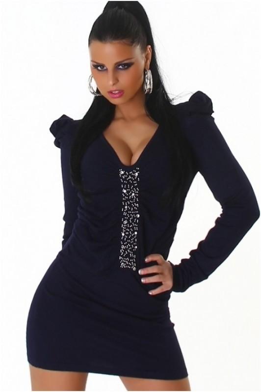 Tamsiai mėlyna suknelė su papuošimais