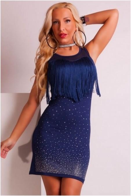 Tamsiai mėlyna suknelė be rankovių