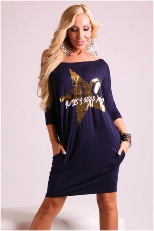 Tamsiai mėlyna suknelė su žvaigžde priekyje