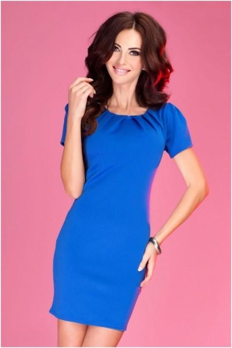 Mėlyna elegantiška suknelė trumpom rankovėm