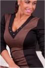 Juoda/ruda elegantiška suknelė su trikampe iškirpte