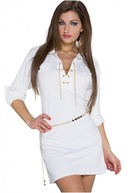 Balta suknelė su diržiuku