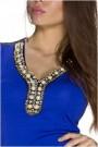 Mėlyna suknelė be rankovių