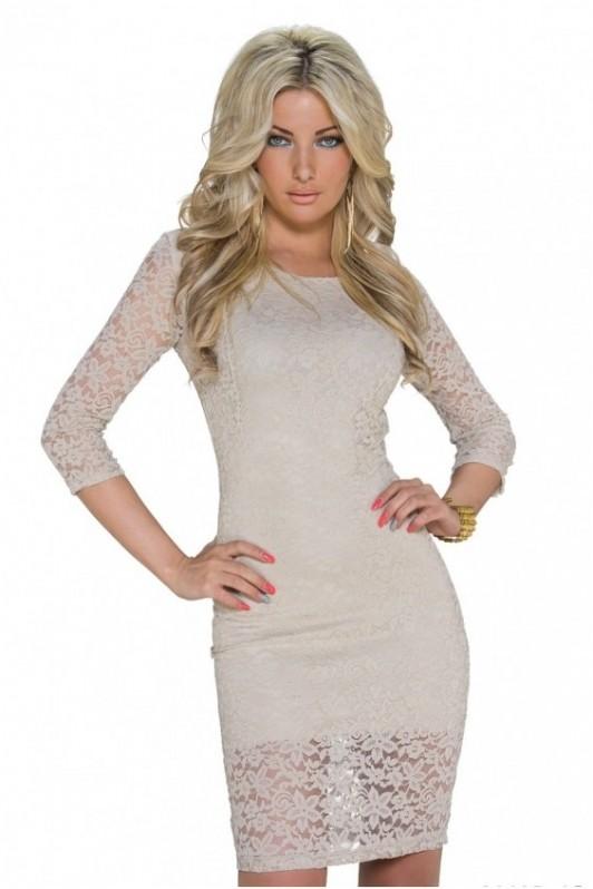 Kremo spalvos elegantiška suknelė su gipiūru