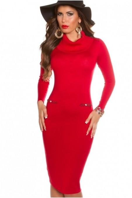Raudona elegantiška suknelė su paaukštintu kaklu