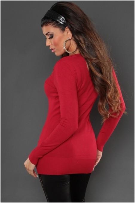 Raudonas ilgas megztinis su sagutėm