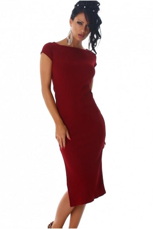 Bordo ilga suknelė trumpom rankovėm