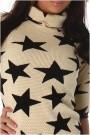 Kremo spalvos mini suknelė su žvaigždėm