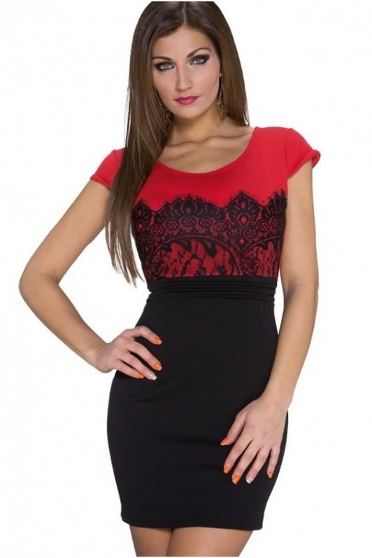 Juoda/raudona trumpa suknelė