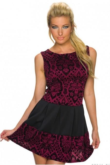 Bordo su juoda spalva suknelė be rankovių