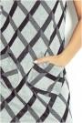 Juoda/pilka trumpom rankovėm suknelė
