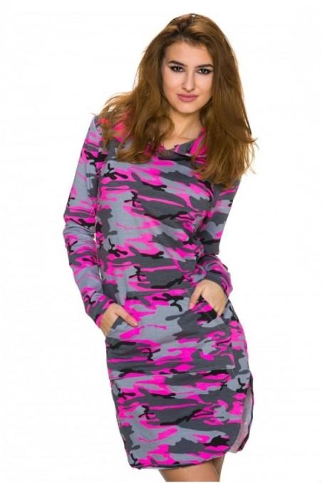 Pilka/rožinė laisvalaikio suknelė