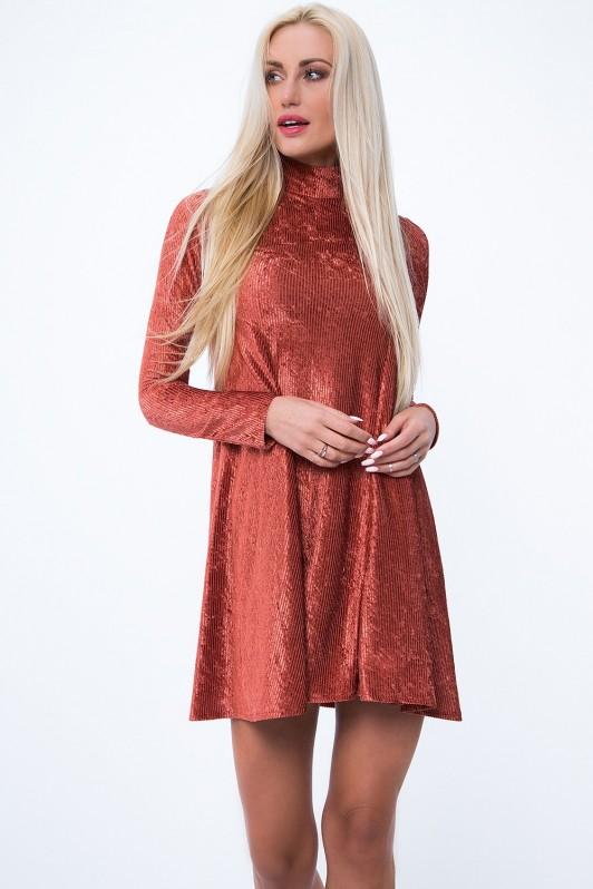 Ruda suknelė su paaukštintu kaklu