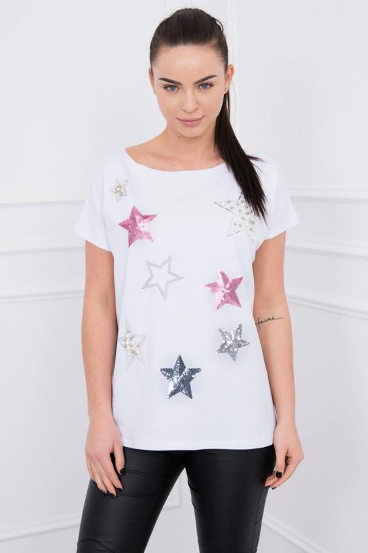 Balta palaidinė su žvaigždėm