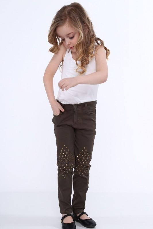 Chaki spalvos kelnės mergaitei