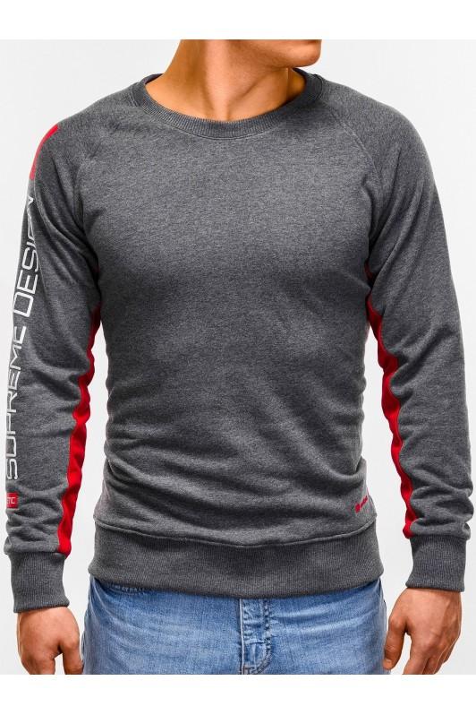 Tamsiai pilkas vyriškas džemperis su užrašais B921