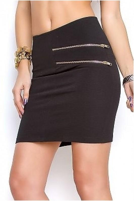 Juodas trumpas sijonas su užtrauktukais