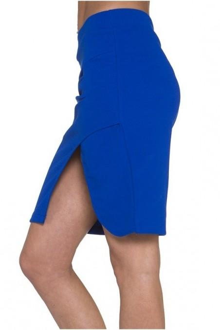 Mėlynas sijonas su skeltuku
