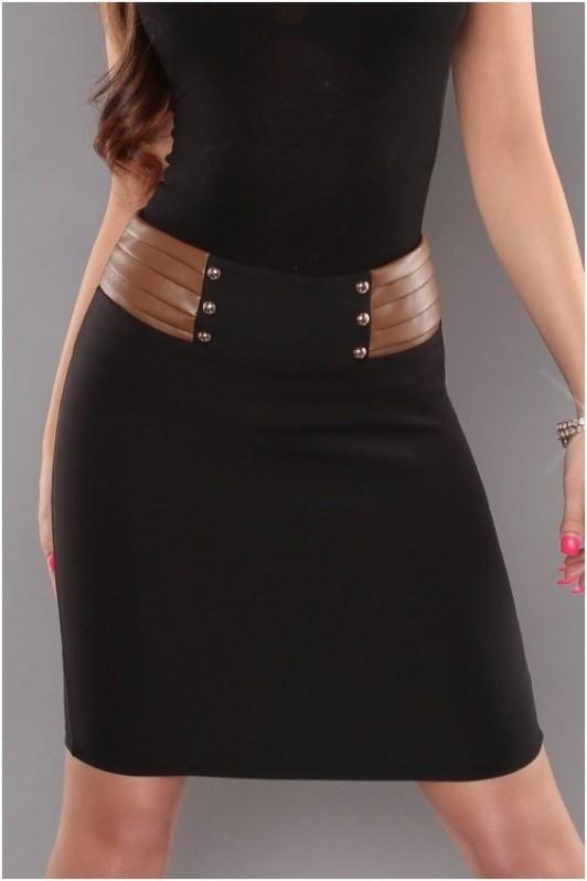 Juodas/rudas sijonas su sagutėm