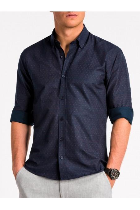 Tamsiai mėlyni vyriški marškiniai K466