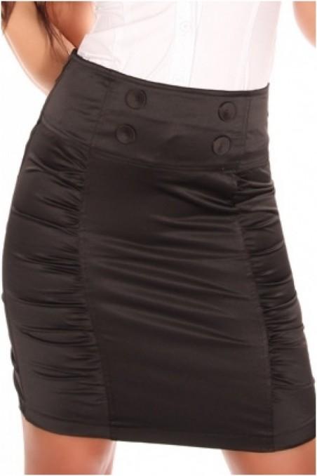 Juodas sijonas su paraukimais šonuose
