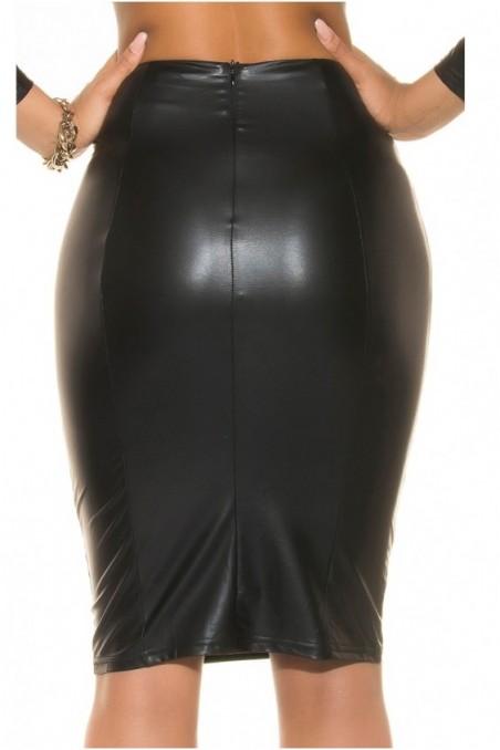 Juodas, odos imitacijos sijonas