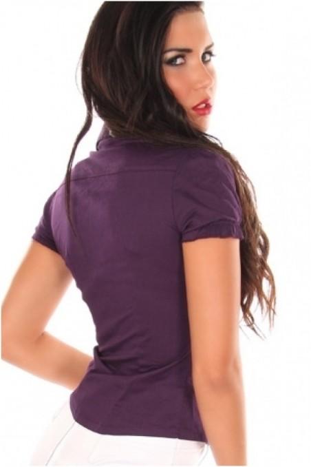 Violetiniai, trumpom rankovėm marškinukai