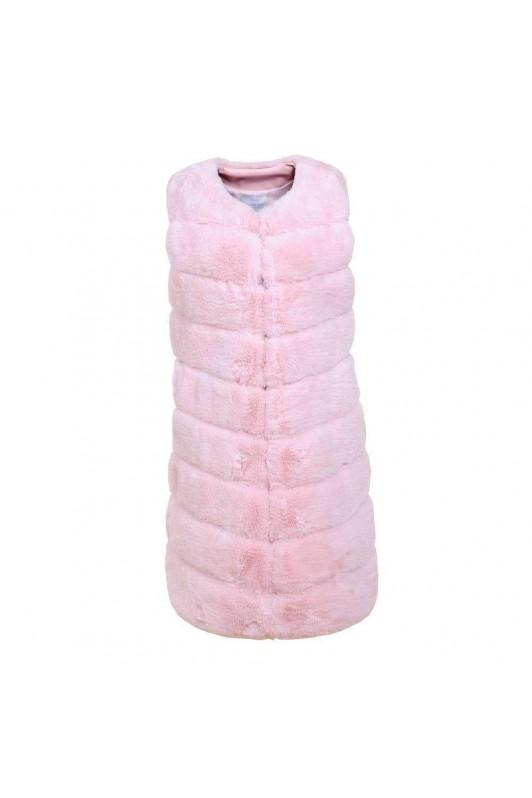 Rožinė kailinė liemenė