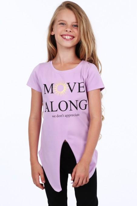 Violetinė tunika su užrašais mergaitei