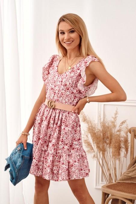 Rožinė gėlėta elegantiška suknelė
