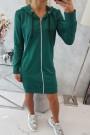 Žalias ilgas džemperis su kapišonu