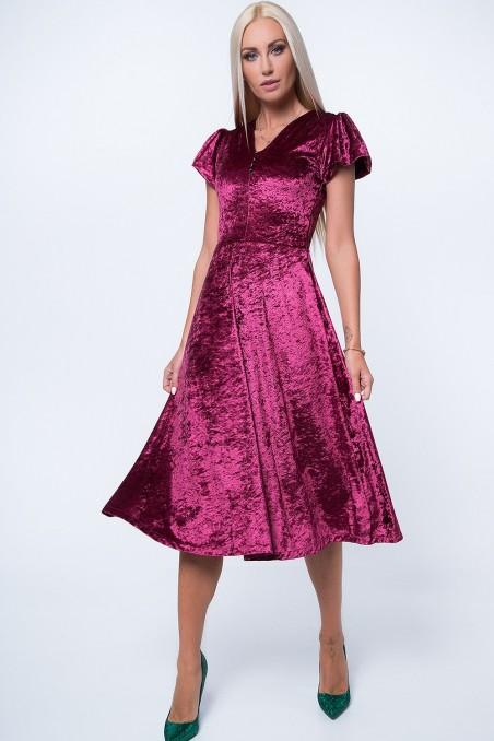 Bordo spalvos suknelė trumpom rankovėm