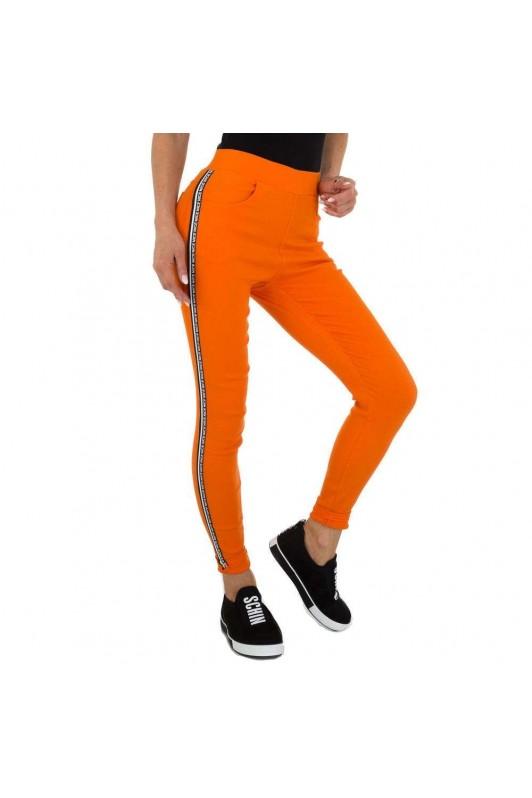 Oranžinės moteriškos kelnės