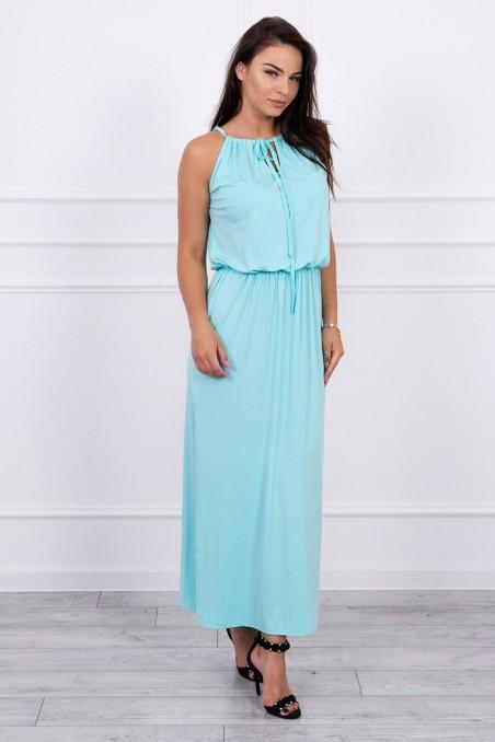 Mėtos spalvos ilga suknelė