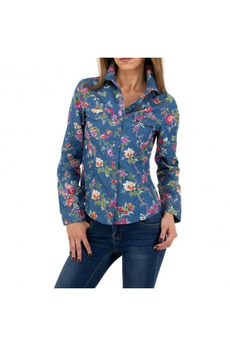Mėlyni džinsiniai gėlėti marškiniai