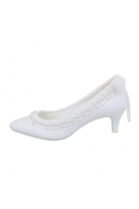 Moteriški klasikiniai aukštakulniai bateliai baltos spalvos