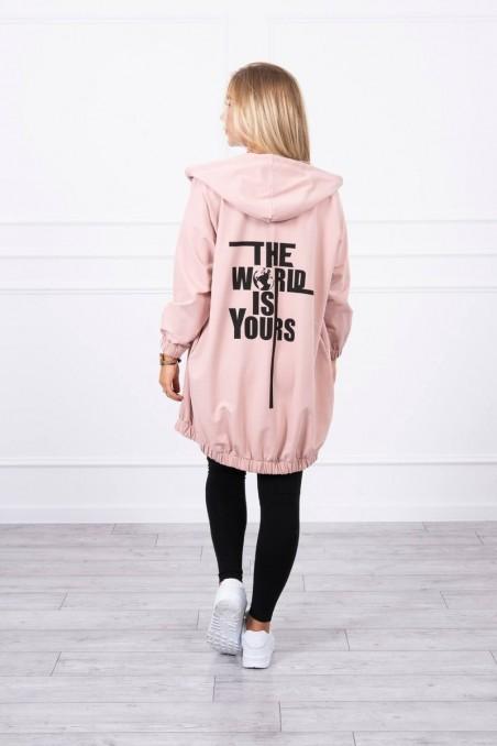 Šviesiai rožinis stilingas džemperis su užrašais nugaroje
