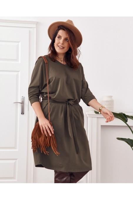 Chaki spalvos suknelė su diržiuku