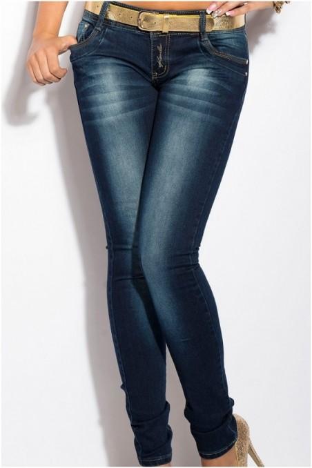 Tamsiai mėlyni džinsai su diržu